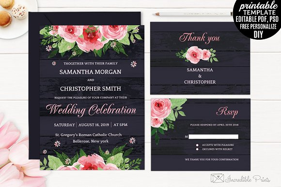 Navy Blue Wedding Invitation