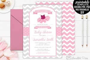Tutu Baby Shower Invitation Template