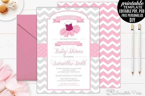 tutu baby shower invitation template invitation templates