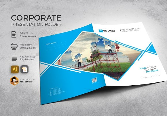 Presentation illustrator for Pocket folder template illustrator