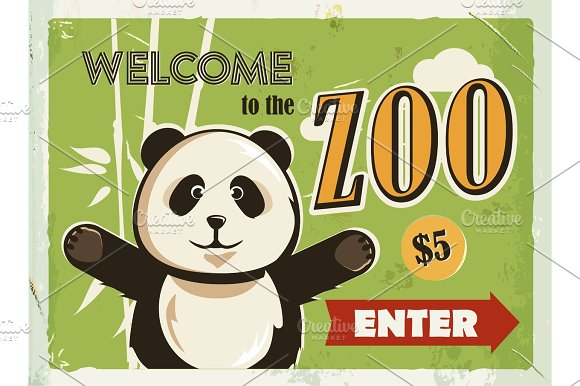 Grunge Retro Metal Sign With Panda Welcome To The Zoo Vintage Poster Road Signboard Old Fashioned Design
