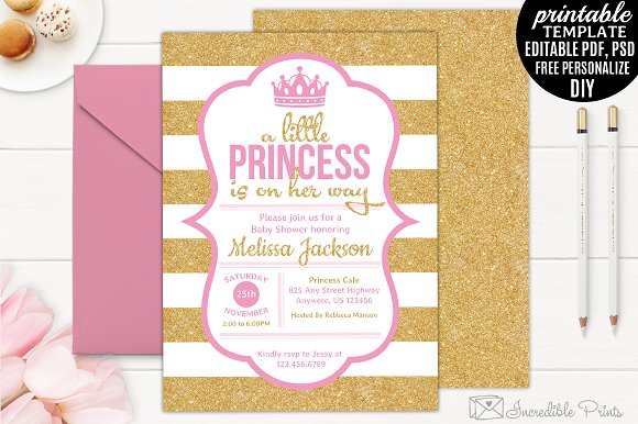Gold And Pink Baby Shower Invite Invitation Templates Creative