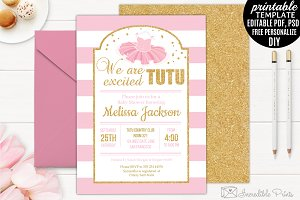 Tutu Excited Baby Shower Invitation
