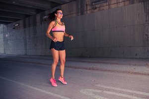 Female runner warming up outdoors