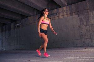 Fit female runner exercising outdoor