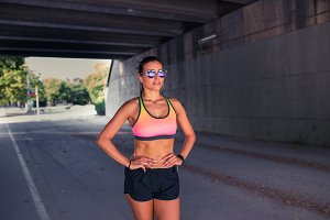 Fit female runner exercising outdoor