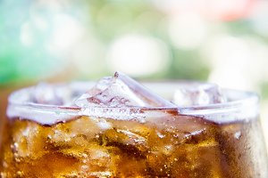 ice on beverage soft drinks
