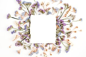 Paper blank and dried flowers