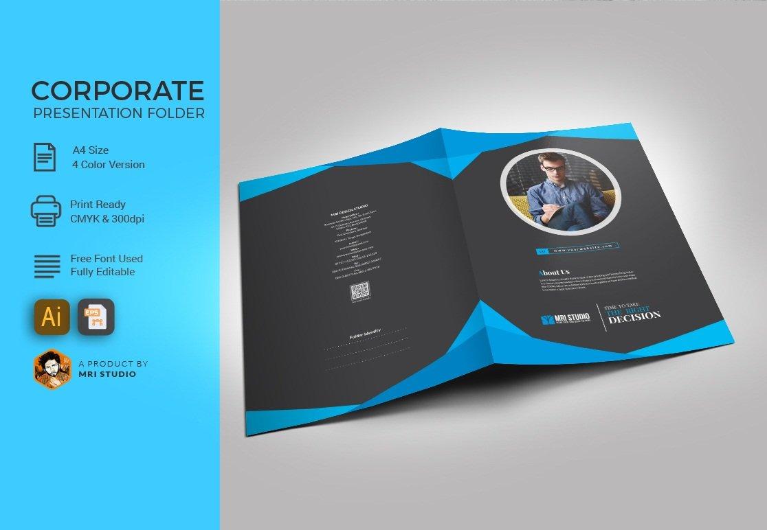 Presentation folder template stationery templates creative market friedricerecipe Image collections