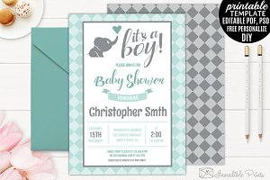 Mint and Grey Elephant Baby Shower