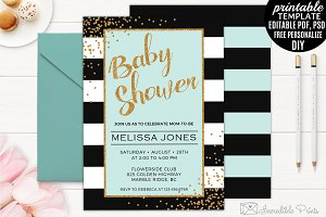 Mint Black and Gold Baby Shower