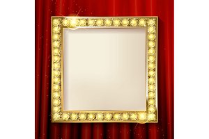 Empty golden painting frame
