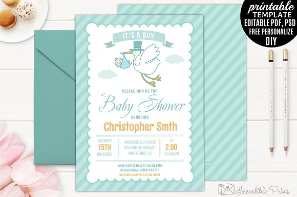Mint Baby Shower Invitation Template