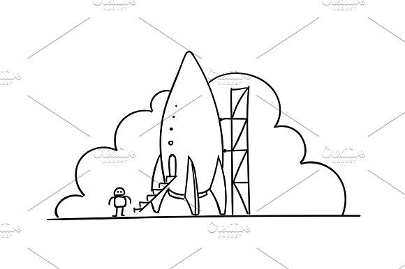 Rocket station illustration. Startup metaphor. Ready to start. The beginning path to the stars. Drawings by hand