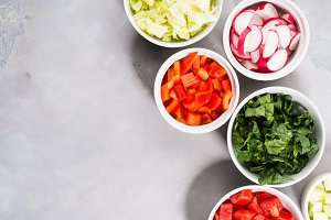 Mix of vegetable bowls for salad or snacks