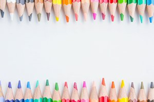 Pencils color on white background