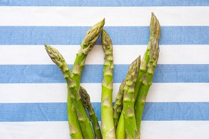Italian asparagus on table cloth