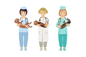 Veterinarians with dogs