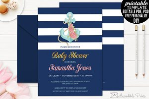 Navy Nautical Baby Shower Invitation
