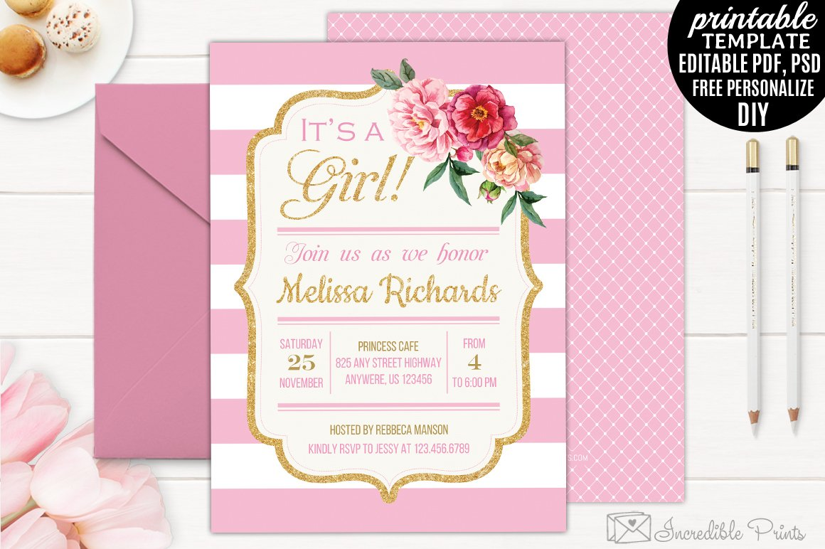 Gold And Pink Baby Shower Invitation Invitation Templates