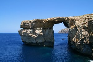 Natural rock formation in the sea