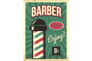 Grunge retro metal sign with barber pole. Barbershop flyer. Vintage poster. Old fashioned design.