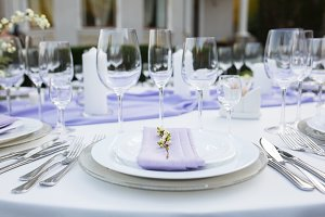 Table setting at a luxury wedding