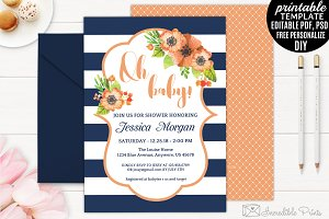 Navy and Orange Baby Shower