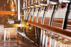 Row of beer faucets