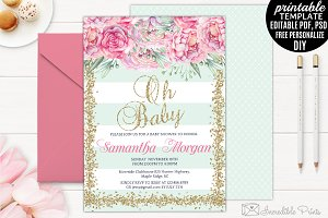 Mint Gold and Pink Baby Shower