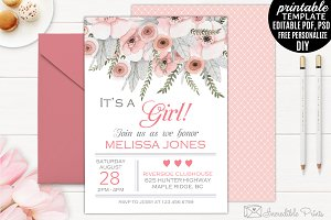 Floral Baby Shower Invite Template
