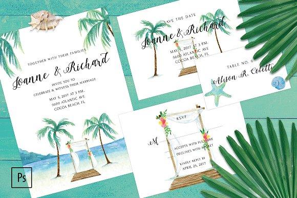 Beach Wedding Invitation Kit Invitation Templates Creative Market