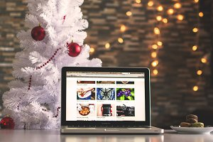 Christmas Tree and Mac Laptop