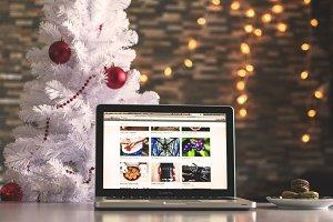 Christmas Tree and Mac Laptop