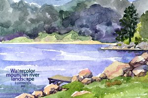 Watercolor mountain river.