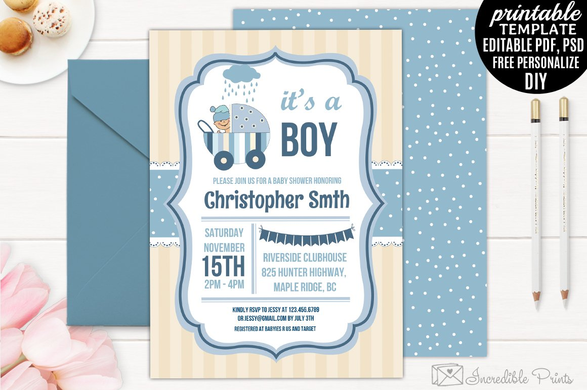 Boy Baby Shower Invitation Template Templates Creative Market