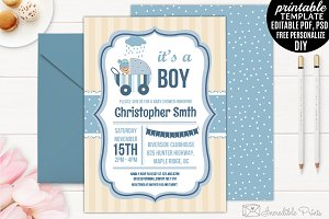 Boy Baby Shower Invitation Template