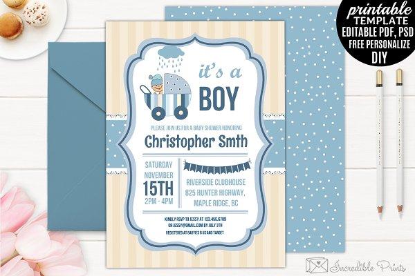 Boy Baby Shower Invitation Template