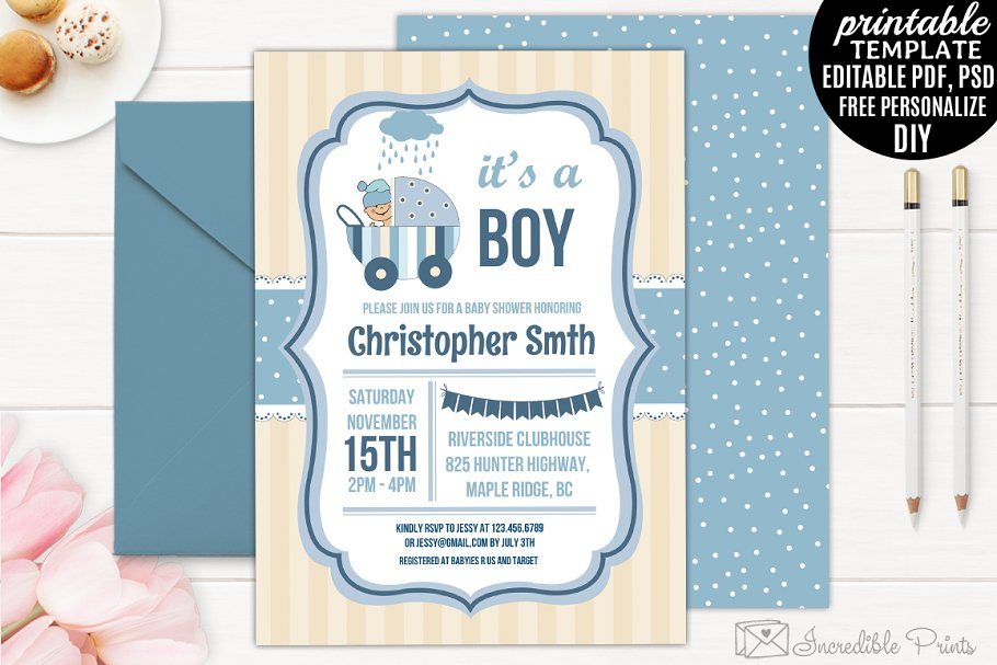 Boy Baby Shower Invitation Template | Creative Invitation ...