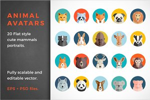 20 Flat Style Vector Animal Avatars