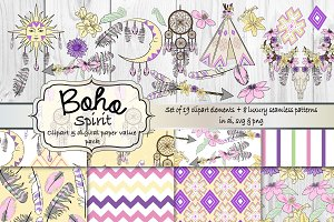 Boho clipart & pattern set