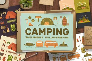 Camping illustrations and elements