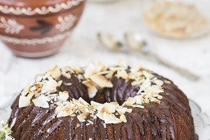 homemade yogurt cake with chocolate frosting