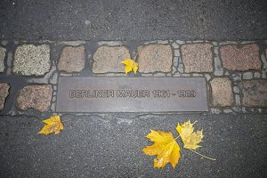 Berlin wall sign on the road