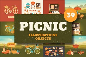 50%OFF. Illustrations picnic and BBQ