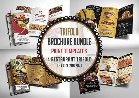restaurant menu trifold bundle brochure templates creative market