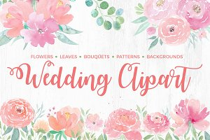 50% OFF Watercolor Wedding Clipart
