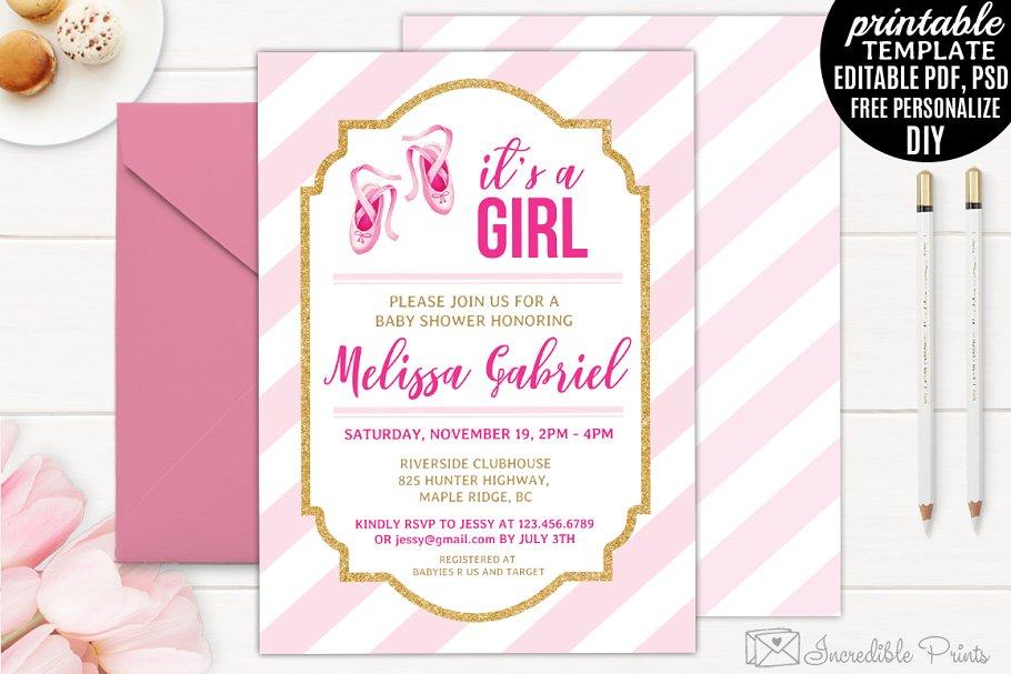 Ballerina Baby Shower Invitation Invitation Templates Creative