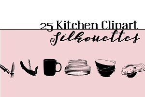 25 Kitchen Clipart Silhouettes