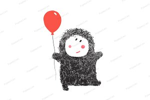Funny Hairy Baby with Balloon